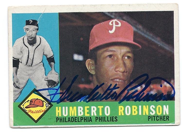 Humberto Robinson Philadelphia Phillies Autographed Vintage Baseball Card 120116j