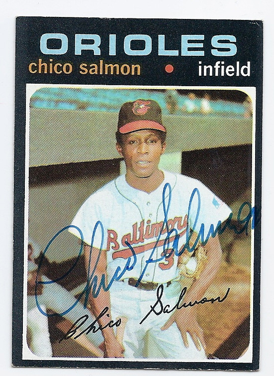 Chico Salmon Baltimore Orioles Autographed Vintage Baseball Card 121616f