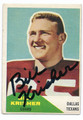 BILL KRISHER DALLAS TEXANS AUTOGRAPHED VINTAGE ROOKIE FOOTBALL CARD #122616D