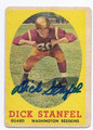 DICK STANFEL WASHINGTON REDSKINS AUTOGRAPHED VINTAGE FOOTBALL CARD #122716D