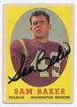 SAM BAKER AUTOGRAPHED VINTAGE WASHINGTON REDSKINS FOOTBALL CARD #122916C
