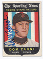 DOM ZANNI SAN FRANCISCO GIANTS AUTOGRAPHED VINTAGE ROOKIE BASEBALL CARD #123116E