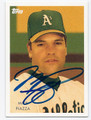 MIKE PIAZZA OAKLAND ATHLETICS AUTOGRAPHED BASEBALL CARD #10217C