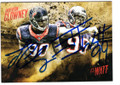 JADEVEON CLOWNEY ROOKIE & JJ WATT HOUSTON TEXANS DOUBLE AUTOGRAPHED FOOTBALL CARD #113018D