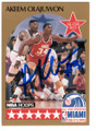 AKEEM OLAJUWON HOUSTON ROCKETS ALL STAR AUTOGRAPHED BASKETBALL CARD #120718G