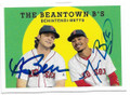 ANDREW BENINTENDI & MOOKIE BETTS BOSTON RED SOX DOUBLE AUTOGRAPHED BASEBALL CARD #122518C