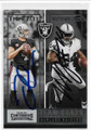DEREK CARR & MARSHAWN LYNCH OAKLAND RAIDERS DOUBLE AUTOGRAPHED FOOTBALL CARD #122518D