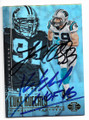 LUKE KUECHLY & KEVIN GREENE CAROLINA PANTHERS DOUBLE AUTOGRAPHED FOOTBALL CARD #123018C