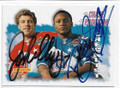 JOHN ELWAY & BARRY SANDERS DOUBLE AUTOGRAPHED PRO BOWL FOOTBALL CARD #10119B