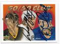 MARIO LEMIEUX, WAYNE GRETZKY & BRETT HULL TRIPLE AUTOGRAPHED HOCKEY CARD #10219A