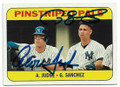 AARON JUDGE & GARY SANCHEZ NEW YORK YANKEES DOUBLE AUTOGRAPHED BASEBALL CARD #10319F