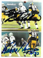 TERRY BRADSHAW & FRANCO HARRIS PITTSBURGH STEELERS DOUBLE AUTOGRAPHED FOOTBALL CARD #10719B