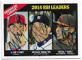 MIKE TROUT, MIGUEL CABRERA & NELSON CRUZ ANGELS, TIGERS & ORIOLES TRIPLE AUTOGRAPHED BASEBALL CARD #10719C