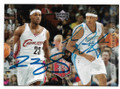 LeBRON JAMES & CARMELO ANTHONY CLEVELAND CAVALIERS & DENVER NUGGETS DOUBLE AUTOGRAPHED ROOKIE BASKETBALL CARD #10719E