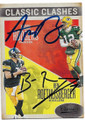 AARON RODGERS & BEN ROETHLISBERGER GREEN BAY PACKS AND PITTSBURGH STEELERS DOUBLE AUTOGRAPHED FOOTBALL CARD #10719i