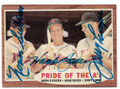 NORM SIEBERN, HANK BAUER & JERRY LUMPRE KANSAS CITY ATHLETICS TRIPLE AUTOGRAPHED VINTAGE BASEBALL CARD #10719J