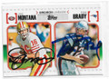 JOE MONTANA & TOM BRADY SAN FRANCISCO 49ers AND NEW ENGLAND PATRIOTS DOUBLE AUTOGRAPHED FOOTBALL CARD #10819A