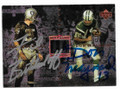 FRED BILETNIKOFF & DON MAYNARD OAKLAND RAIDERS & NEW YORK JETS DOUBLE AUTOGRAPHED FOOTBALL CARD #10819B