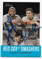 DAVID ORTIZ & ADRIAN GONZALEZ BOSTON RED SOX DOUBLE AUTOGRAPHED BASEBALL CARD #10919A