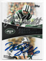 JOE NAMATH & MARK SANCHEZ NEW YORK JETS DOUBLE AUTOGRAPHED FOOTBALL CARD #10919C