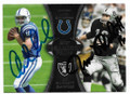 ANDREW LUCK INDIANAPOLIS COLTS ROOKIE AND JIM PLUNKETT OAKLAND RAIDERS DOUBLE AUTOGRAPHED FOOTBALL CARD #10919F