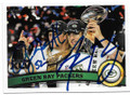 CLAY MATTHEWS III & AARON RODGERS GREEN BAY PACKERS DOUBLE AUTOGRAPHED FOOTBALL CARD #11019D