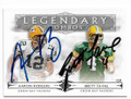 AARON RODGERS & BRETT FAVRE GREEN BAY PACKERS DOUBLE AUTOGRAPHED FOOTBALL CARD #11019H