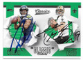 RUSSELL WILSON & DREW BREES SEATTLE SEAHAWKS & NEW ORLEANS SAINTS DOUBLE AUTOGRAPHED FOOTBALL CARD #11119L