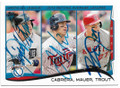 MIGUEL CABRERA, JOE MAUER & MIKE TROUT DETROIT TIGERS, MINNESOTA TWINS & ANAHEIM ANGELS TRIPLE AUTOGRAPHED BASEBALL CARD #11219J
