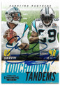 CAM NEWTON & STEVE SMITH CAROLINA PANTHERS DOUBLE AUTOGRAPHED FOOTBALL CARD #11319K