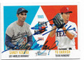 SANDY KOUFAX & YU DARVISH LOS ANGELES DODGERS & TEXAS RANGERS DOUBLE AUTOGRAPHED FOOTBALL CARD #11319L
