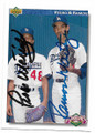 PEDRO & RAMON MARTINEZ LOS ANGELES DODGERS BROTHERS DOUBLE AUTOGRAPHED FOOTBALL CARD #11419B