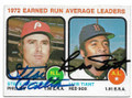 STEVE CARLTON & LUIS TIANT PHILADELPHIA PHILLIES & BOSTON RED SOX DOUBLE AUTOGRAPHED VINTAGE BASEBALL CARD #11419F