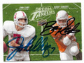 JOHN ELWAY & BARRY SANDERS STANFORD & OKLAHOMA STATE DOUBLE AUTOGRAPHED FOOTBALL CARD #11419G
