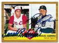 FRANK ROBINSON & MIGUEL CABRERA CINCINNATI REDS & DETROIT TIGERS DOUBLE AUTOGRAPHED BASEBALL CARD #11919i