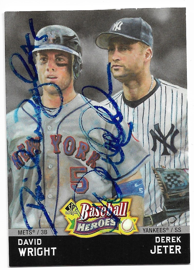 David Wright Derek Jeter New York Mets New York Yankees Double Autographed Baseball Card 12019i