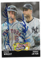 DAVID WRIGHT & DEREK JETER NEW YORK METS & NEW YORK YANKEES DOUBLE AUTOGRAPHED BASEBALL CARD #12019i