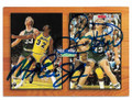 MAGIC JOHNSON & LARRY BIRD LOS ANGELES LAKERS & BOSTON CELTICS DOUBLE AUTOGRAPHED BASKETBALL CARD #12019L