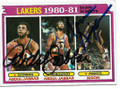 KAREEM ABDUL-JABBAR & NORM NIXON LOS ANGELES LAKERS DOUBLE AUTOGRAPHED VINTAGE BASKETBALL CARD #12219H