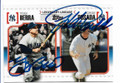 YOGI BERRA & JORGE POSADA NEW YORK YANKEES DOUBLE AUTOGRAPHED BASEBALL CARD #12219M