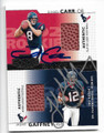 DAVID CARR & JABAR GAFFNEY HOUSTON TEXANS DOUBLE AUTOGRAPHED ROOKIE PIECE OF THE GAME FOOTBALL CARD #12219N