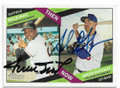WILLIE MAYS & ADRIAN GONZALEZ SAN FRANCISCO GIANTS & LOS ANGELES DODGERS DOUBLE AUTOGRAPHED BASEBALL CARD #12319F