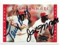 TONY PEREZ & JOE MORGAN CINCINNATI REDS DOUBLE AUTOGRAPHED BASEBALL CARD #12519G