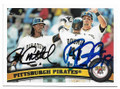 ANDREW McCUTCHEN & RYAN DOUMIT PITTSBURGH PIRATES DOUBLE AUTOGRAPHED BASEBALL CARD #12619E
