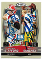 MATTHEW STAFFORD & MARK SANCHEZ UNIVERSITY OF GEORGIA BULLDOGS & USC TROJANS DOUBLE AUTOGRAPHED ROOKIE FOOTBALL CARD #12619L