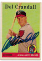 DEL CRANDALL MILWAUKEE BRAVES AUTOGRAPHED VINTAGE BASEBALL CARD #12819A