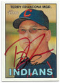 TERRY FRANCONA CLEVELAND INDIANS AUTOGRAPHED BASEBALL CARD #20219D
