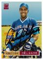 CARLOS DELGADO TORONTO BLUE JAYS AUTOGRAPHED ROOKIE BASEBALL CARD #20619E