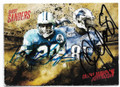 BARRY SANDERS & CALVIN JOHNSON DETROIT LIONS DOUBLE AUTOGRAPHED FOOTBALL CARD #20619J