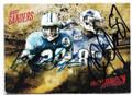 BARRY SANDERS & CALVIN JOHNSON DETROIT LIONS DOUBLE AUTOGRAPHED FOOTBALL CARD #20619J